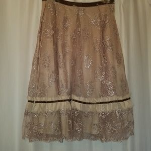 ANNA SUI Full Distressed Blush Lace Metallic Skirt